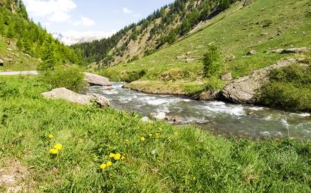 tributary: Switzerland: Pass road of Nufenen-Novena. Aegina River tributary of the River Rhone Stock Photo