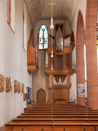 spiritual architecture: Kaiserslautern, Germany - April 18, 2015: MartinsKirche is former Franciscan Church and todays Catholic parish church in downtown Kaiserslautern. The building has a very checkered history.