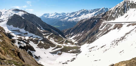 Gotthardpass, Switzerland: view of the valley of Tremola. The pass is still a lot of snow in the winter