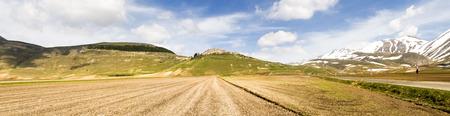 Italy, Castelluccio di Norcia big plan of Monti Sibillini. Stock Photo