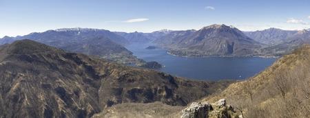 Lake of Como, Italy: Panorama of Lake Como, view of Bellagio and Como branch Stock Photo