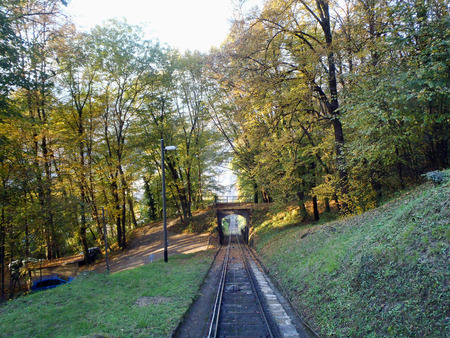 Lugano, Switzerland: San Salvatore funicular line between the mountain forest