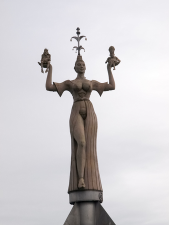 erotically: Konstanz, Germany: famous revolving statue located at the entrance of the port of Lindau. Stock Photo