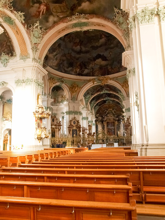 gall: St. Gallen, Switzerland - November 30, 2016: Abbey of St. Gall. The monastery was founded in 612 as a hermitage and took the name from St. Gallen, an Irish monaco.