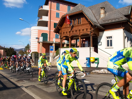 Lugano, Switzerland - March 01, 2015: Cycling race Grand Prix of Lugano in 2015, This is the 69th edition and takes place along the streets of the city on the banks of Lake Lugano. A beautiful sunny day accompanies the exhibition.