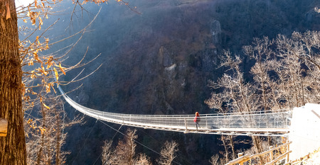 Sementina, switzerland: Suspension bridge over the valley