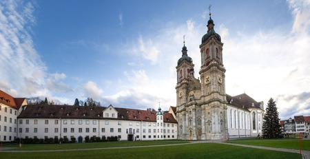 St. Gallen, Switzerland - november 30, 2016: Historic Centre of the medieval town and the St.Gallo Cathedral, Unesco.The city is famous for its typical houses with wooden beams and the Cathedral with the historic library.