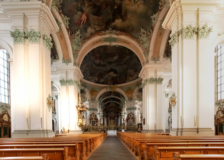 st gallen: St. Gallen, Switzerland - November 30, 2016: Abbey of St. Gall. The monastery was founded in 612 as a hermitage and took the name from St. Gallen, an Irish monaco.
