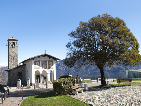 pius: Sanctuary of the Madonna del Ghisallo, Italy - April 1, 2015: The church dates back to centuries. XVII inside is a painting of the Blessed Virgin Mary, known as the Madonna del Ghisallo, proclaimed Patroness of Cyclists by Pope Pius XII in 1946.
