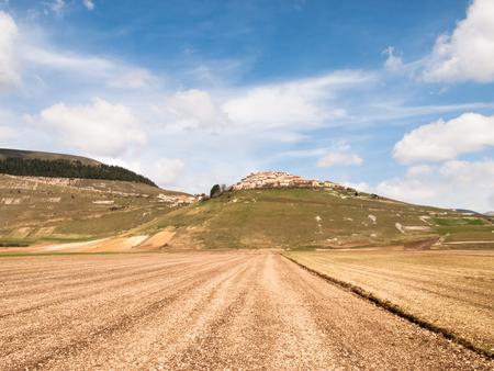 norcia: Italy, Castelluccio di Norcia big plan of Monti Sibillini. Stock Photo