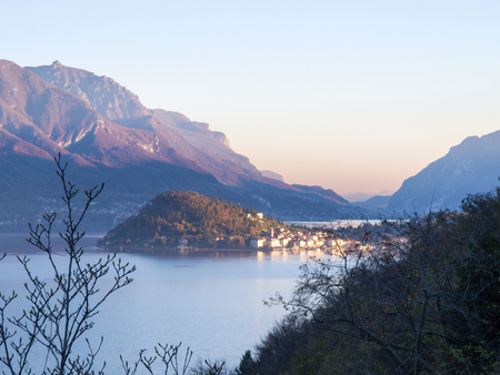 Bellagio, Italy: overlooking the small promontory and the surrounding mountains in the lake.