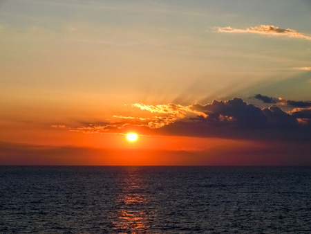 corse: Corse - Corsica, France: Sunset from the ferry Stock Photo