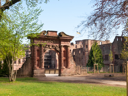 Heidelberg, Germany - April 20, 2015: Heidelberg Castle, whose interior remains largely in ruins to repair damage suffered during the Thirty Years War. Stock Photo