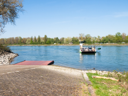 Buelhl am Rhein, Germany: Ferry to transport vehicles and people on the river Rhine