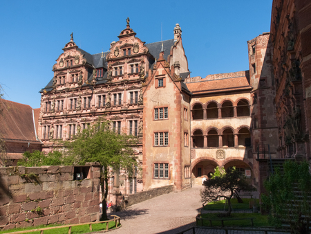 Heidelberg, Germany - April 20, 2015: Heidelberg Castle, whose interior remains largely in ruins to repair damage suffered during the Thirty Years War. Editorial