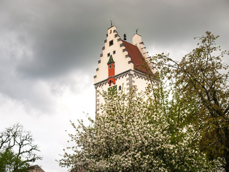 bayern old town: Bad Waldsee, Germany: Bells tower of the town near the lake in the park Stock Photo