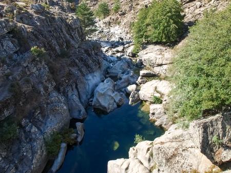 Albertacce Corsica, France: Albertacce, old stone bridge Stock Photo