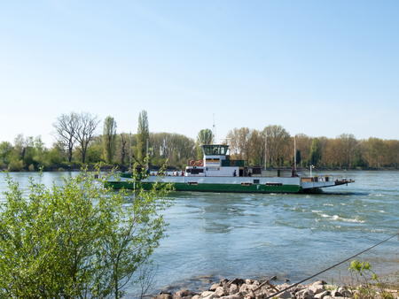 Buelhl am Rhein, Germany: Barge for container transport on the Rhine River