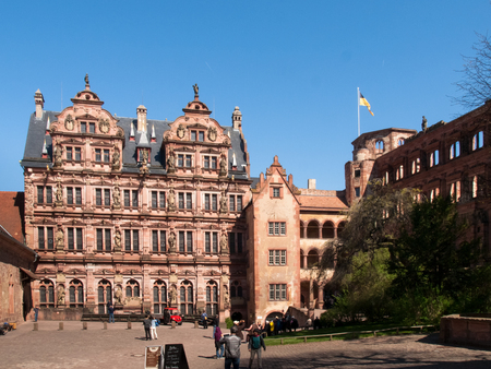 Heidelberg, Germany - April 20, 2015: Heidelberg Castle, whose interior remains largely in ruins to repair damage suffered during the Thirty Years War. Publikacyjne