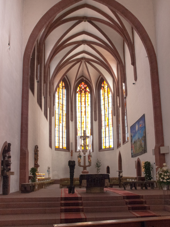 Kaiserslautern, Germany - April 18, 2015: MartinsKirche is former Franciscan Church and todays Catholic parish church in downtown Kaiserslautern. The building has a very checkered history.