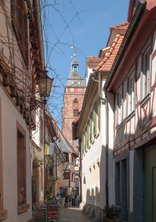 Neustadt an der Weinstrasse, Germany - April 19, 2015: Quaint old town of cozy and quiet town Publikacyjne