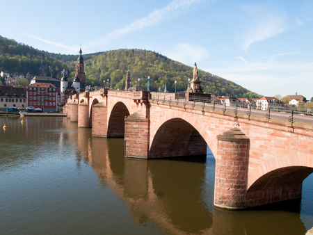 Heidelberg, Germany - April 20, 2015: Karl-Theodor-Brücke, is one of the oldest in Germany, known as early as 1248, on the banks of the river Neckar Publikacyjne