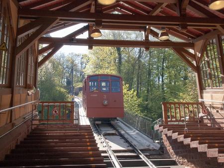 Heidelberg, Germany - April 20, 2015: Bergbahn Kormarkt-Molkenkur, Koenigstuhl Publikacyjne