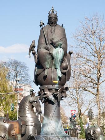 Kaiserslautern, Germany - April 18, 2015: Kaiserbrunnen von Friedrich Barbarossa und Rudolf von Habsburg