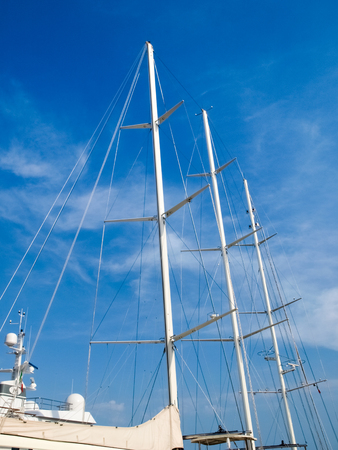 Oneglia, Italy - June 9, 2015: Yachts moored in the Ligurian port.