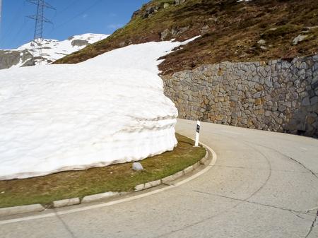 Switzerland: Pass road of Nufenen-Novena, Last remnants of snow after the winter season. Zdjęcie Seryjne