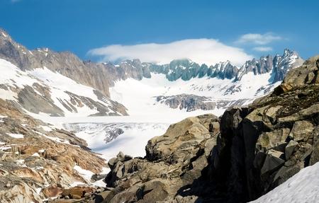 Switzerland: Canton Valais. Rhone glacier melting due to the melting of glaciers. Zdjęcie Seryjne