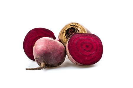 exempted: Beetroot halved on white background Stock Photo