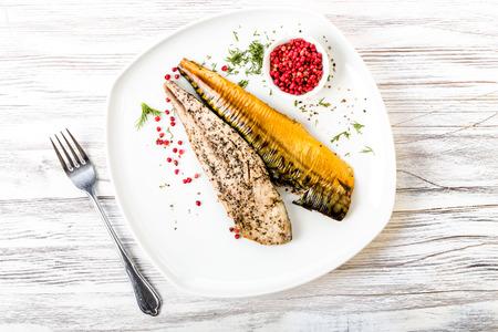 Fresh smoked mackerel with peppercorns