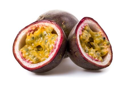 Passion fruit freshly cut Stock Photo