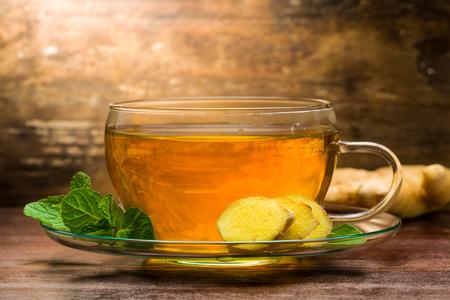 ginger tea: Freshly brewed ginger tea with mint