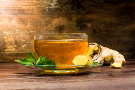 Freshly brewed ginger tea with mint