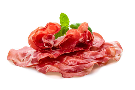 parma ham: Coppa di Parma ham with fresh basil