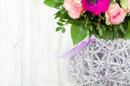 Bouquet, tied on a wooden background Stock Photo