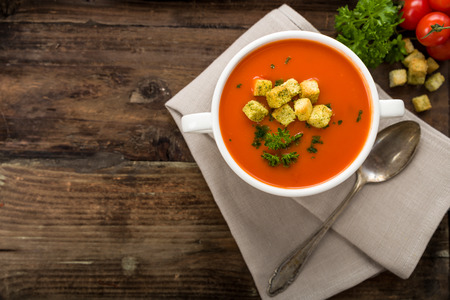 cherry tomatoes: Tomato soup with croutons and fresh parsley