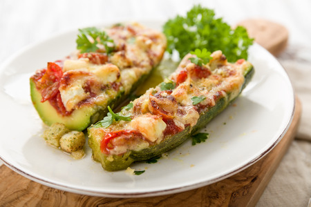 courgettes: Stuffed Courgettes with tomatoes, feta and parmesan