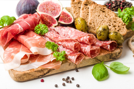 air dried: Italian antipasti sausage with figs, olives and fresh herbs