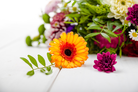 flowerpower: Fragrant flowers on white wooden background Stock Photo
