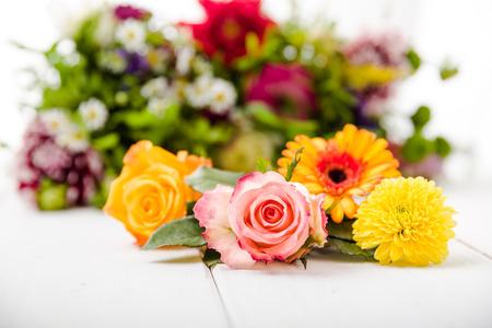 flowerpower: Fragrant flowers on white wooden background Stock Photo