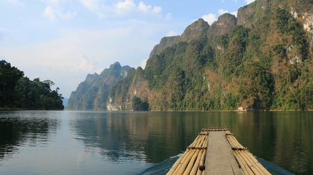 The Chiewlarn Dam Lake Landscape in Thailand photo