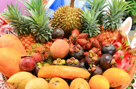 thai fruit: The colorful of Multiple Mix Thai Fruit Stock Photo