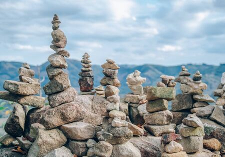 Pebble stack on the mountain with copy space and beautiful. Concentration and relaxation concept.