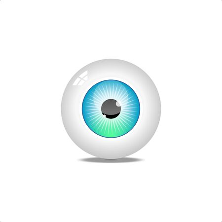 Realistic human eyeball.Blue glossy eye with bright