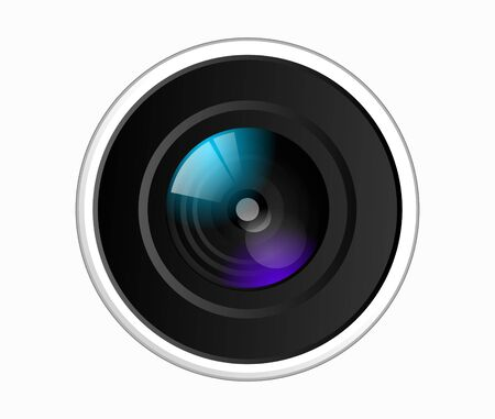 Vector illustration of a colorful dslr camera lens, front view