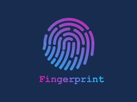 Fingerprint line illustration. Gradient finger print for scanning. Dark background. Logo, icon or banner for security. 矢量图像