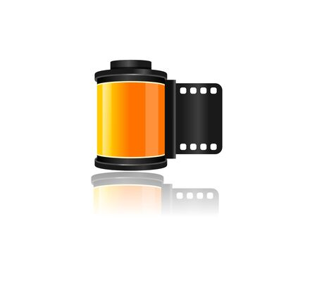 Realistic Yellow Camera Film Roll Cartridge Old Vintage Style for Video or Photo. Standard-Bild - 130981580